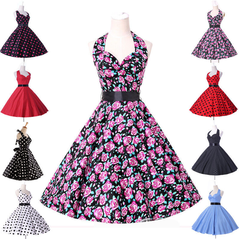 Floral polka dots pinup vintage 1950s swing party evening retro dress
