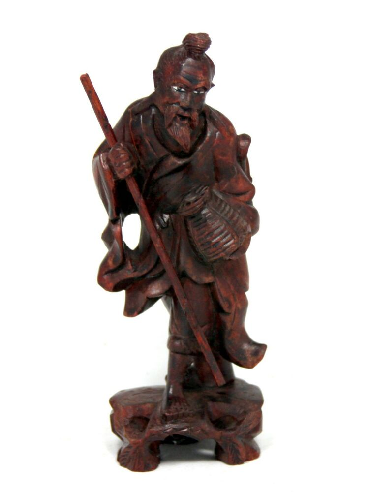 Chinese wood carving of a fisherman fine detail ebay