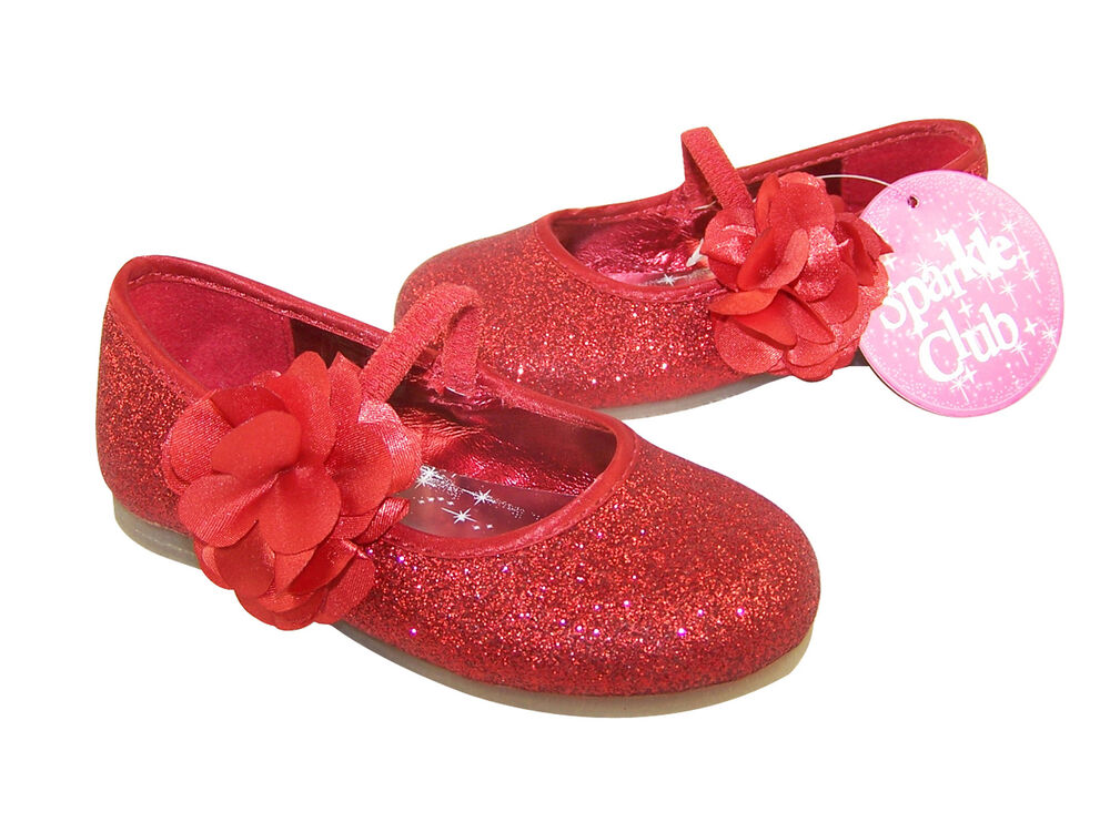 Infant Girls Children Red Sparkly Shoes Ballerina Pumps Party