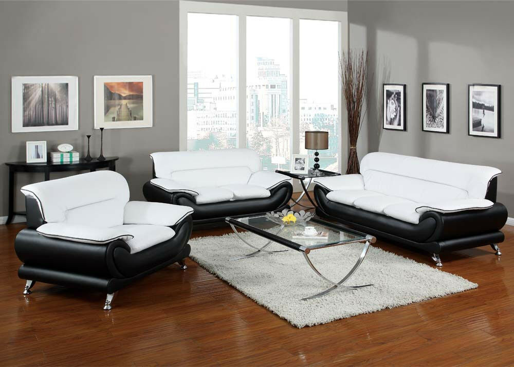 Orel white and black bonded leather sofa set living room furniture 3pc sofa set ebay for Living room with black leather furniture