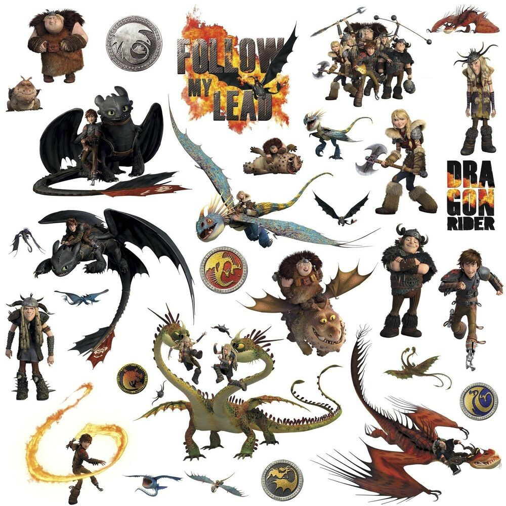 HOW TO TRAIN YOUR DRAGON 31 BiG Wall Decals Toothless Hiccup Astrid Room Sticker EBay
