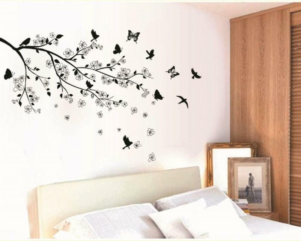 w054 wandtattoo schlafzimmer bers bett wohnzimmer esszimmer ast bl tter v gel ebay. Black Bedroom Furniture Sets. Home Design Ideas