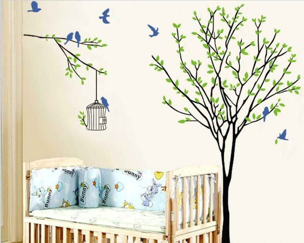 w079 wandtattoo kinderzimmer baum wohnzimmer ast v gel natur lebhaft 140x120cm ebay. Black Bedroom Furniture Sets. Home Design Ideas