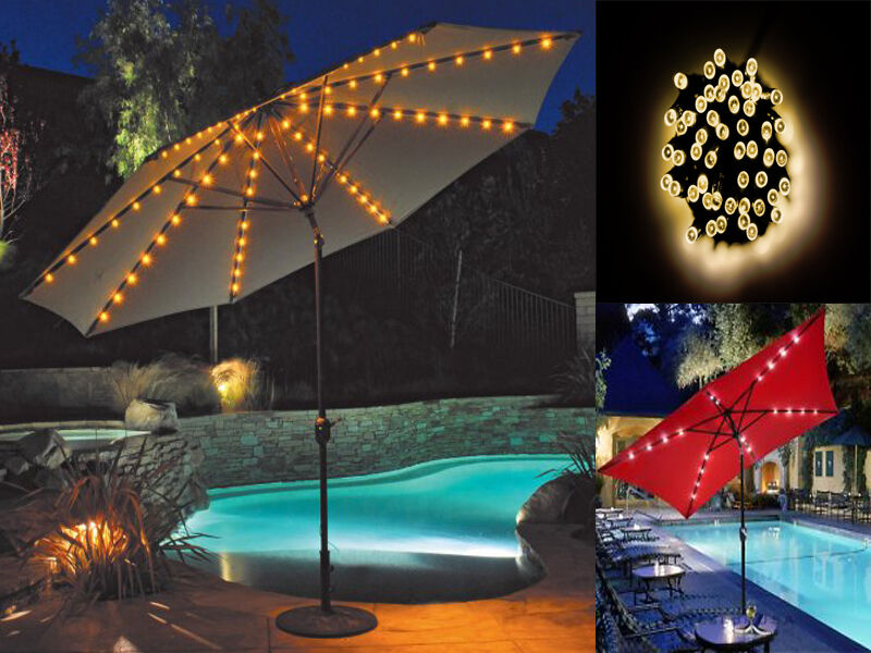 72 Led Umbrella Chain Light Garden Parasol Battery Powered