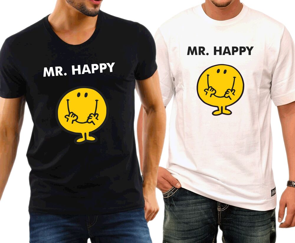 mr happy basic tee shirt cotton ebay. Black Bedroom Furniture Sets. Home Design Ideas