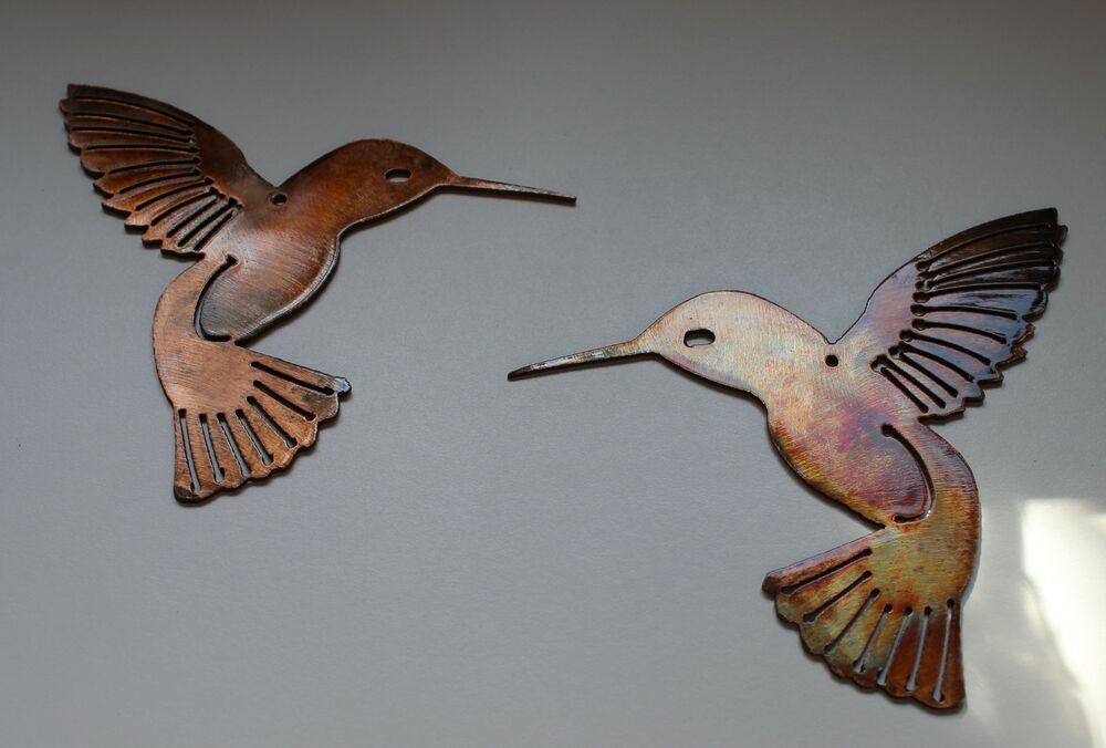 Hummingbird pair metal wall art decor ebay for Hummingbird decor