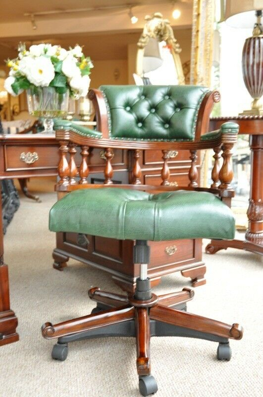 green leather georgian captains swivel period office chair desk ebay