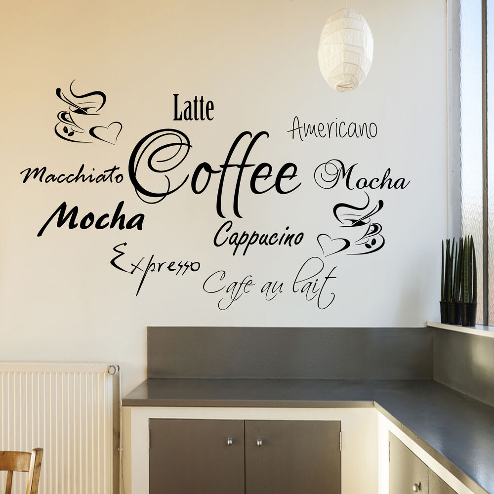 Coffee word cloud wall sticker for kitchen cafe shop graphic transfer decal art ebay - Wall decor stickers online shopping ...