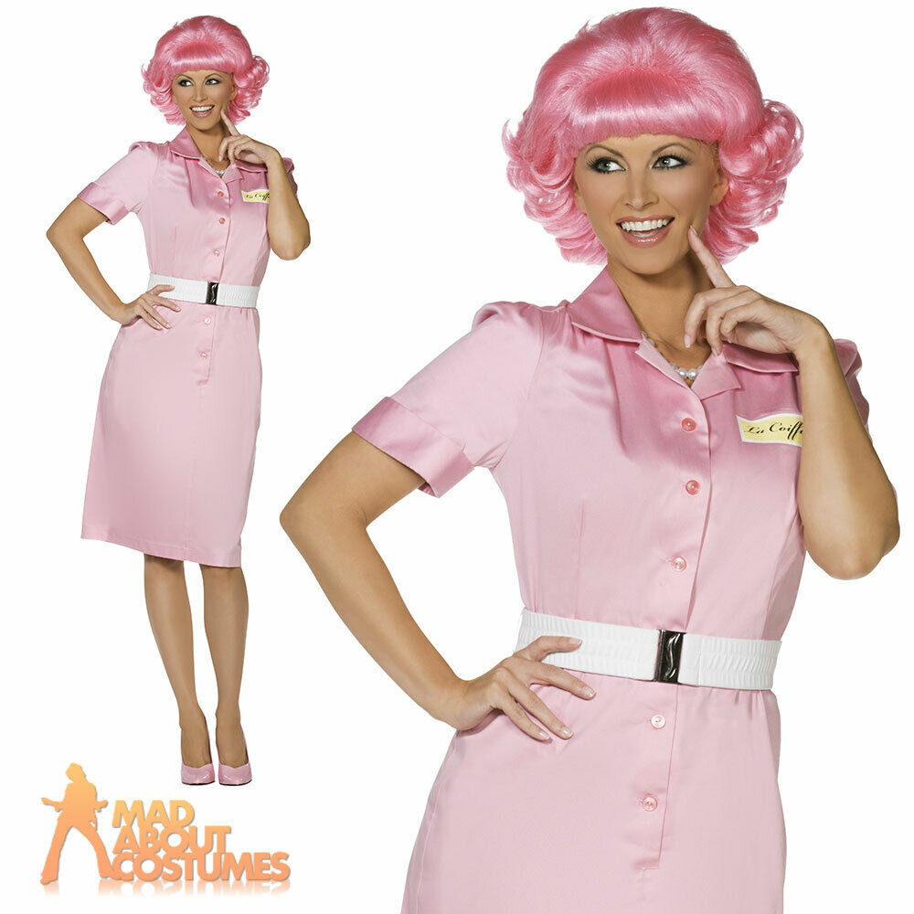 ladies frenchy fancy dress costume grease 1950s pink lady womens outfit ebay. Black Bedroom Furniture Sets. Home Design Ideas