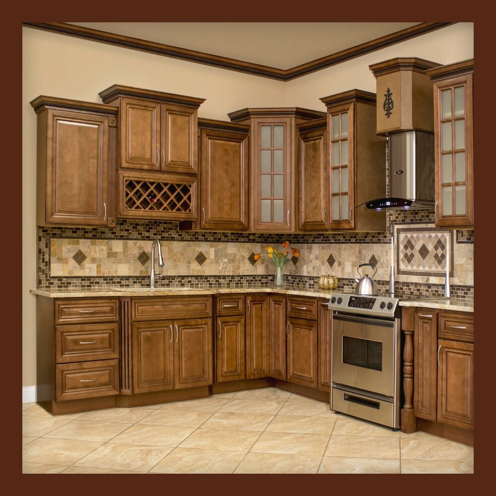 All solid wood kitchen cabinets geneva 10x10 rta ebay for Wood kitchen cabinets