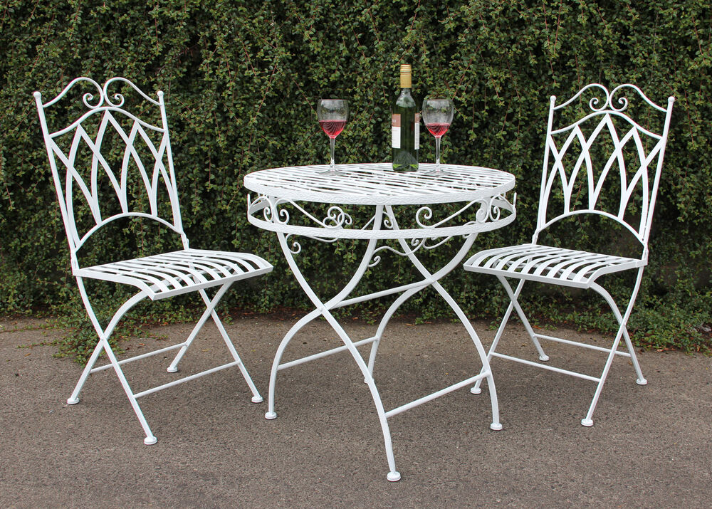 FOLDING GARDEN TABLE AND 2 CHAIRS WHITE METAL 70CM ROUND