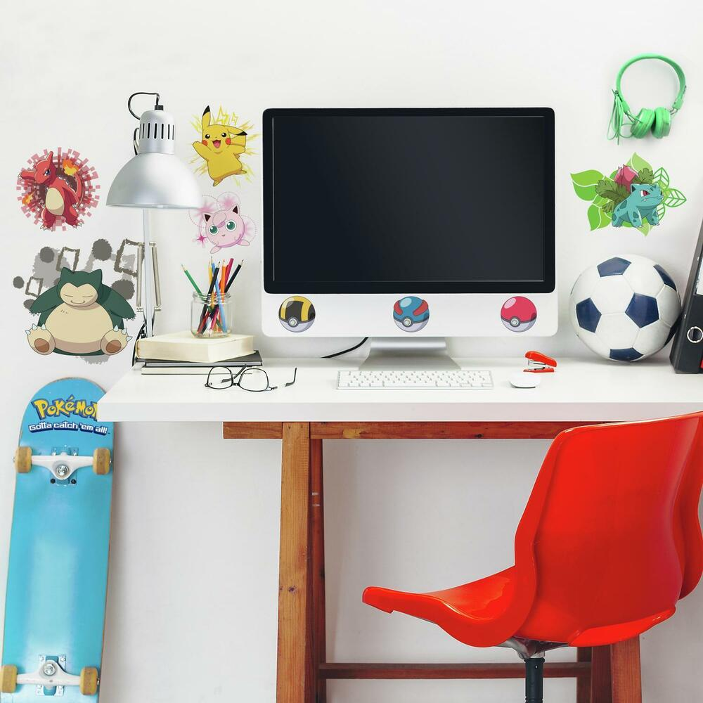 24 New ICONIC POKEMON Peel & Stick WALL DECALS Boys Room