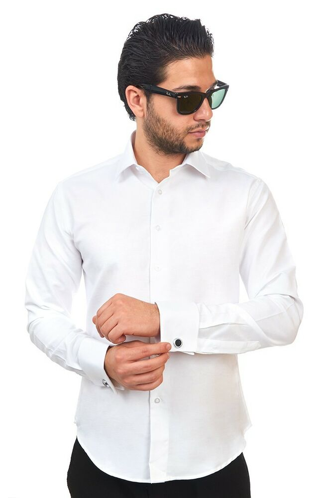 Tailored slim fit mens french cuff white dress shirt for Tailored fit dress shirts