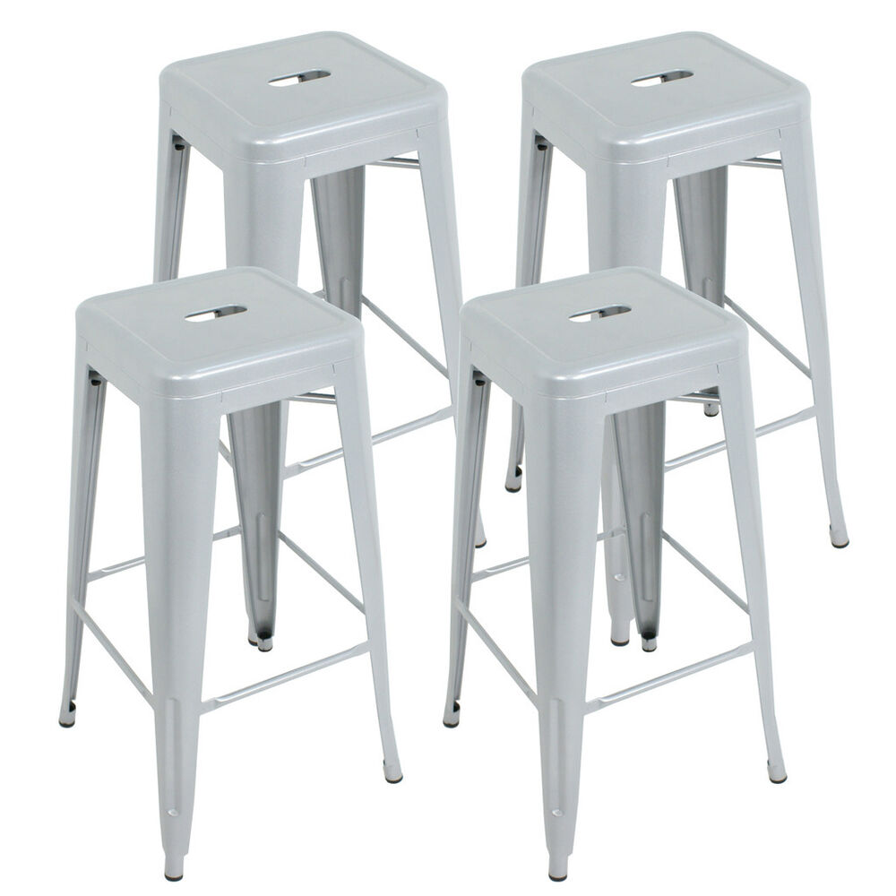 4pcs High Backless Metal Square Seat Silver Stool Indoor