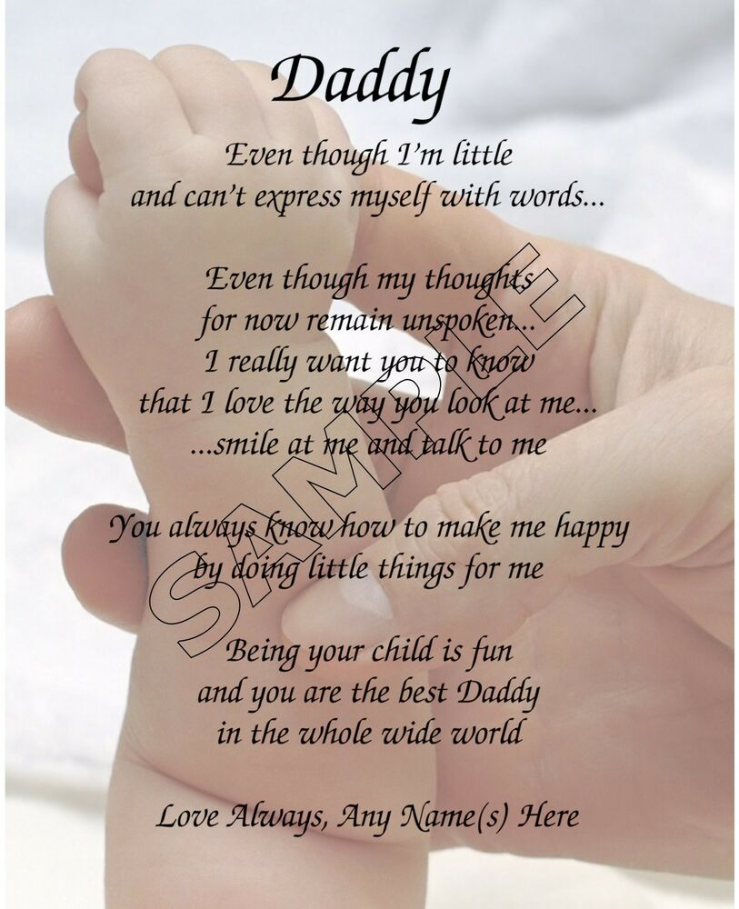 Details About DADDY FROM BABY PERSONALIZED POEM MEMORY BIRTHDAY FATHERS DAY GIFT