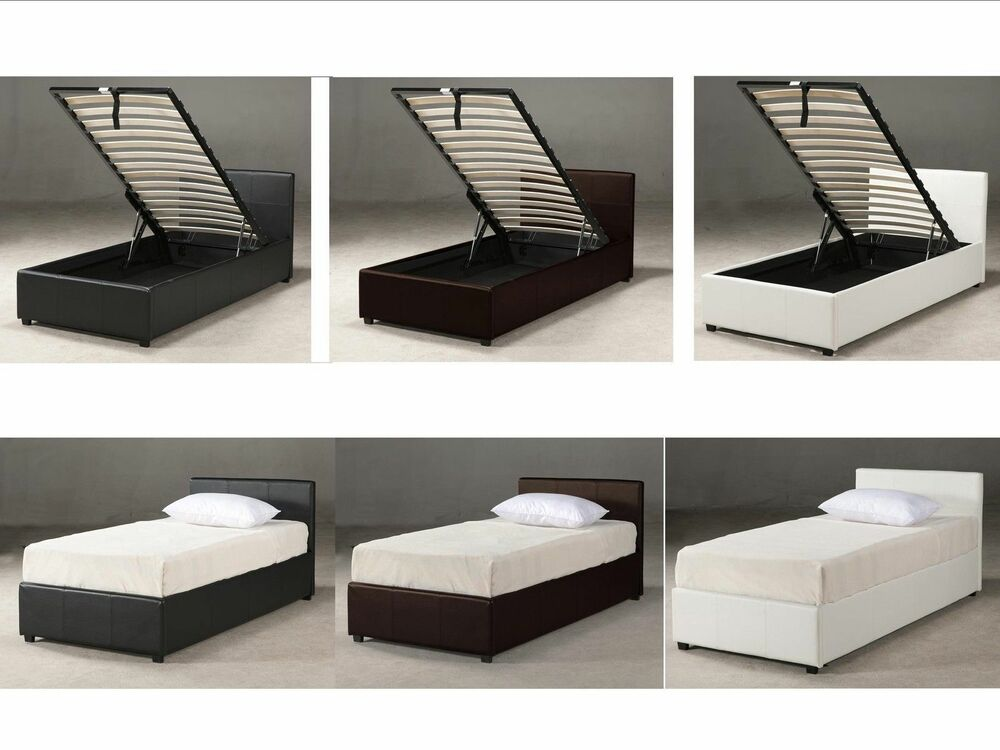 3ft Single Ottoman Storage Bed Black Brown White With