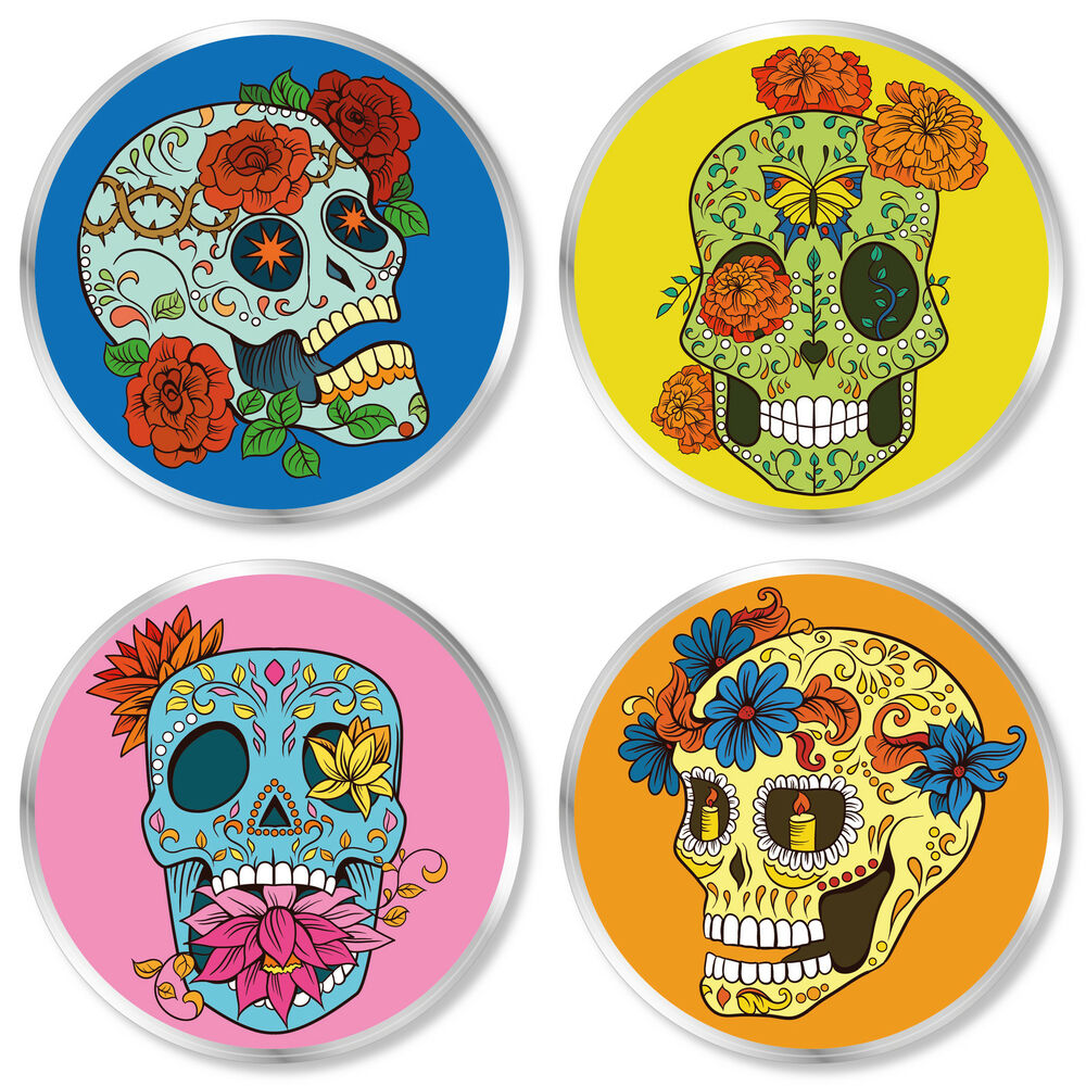 Mexican Import Furniture Set of 4 FLORAL MEXICAN SUGAR SKULL Chunky Clear Plastic 85mm Coasters ...
