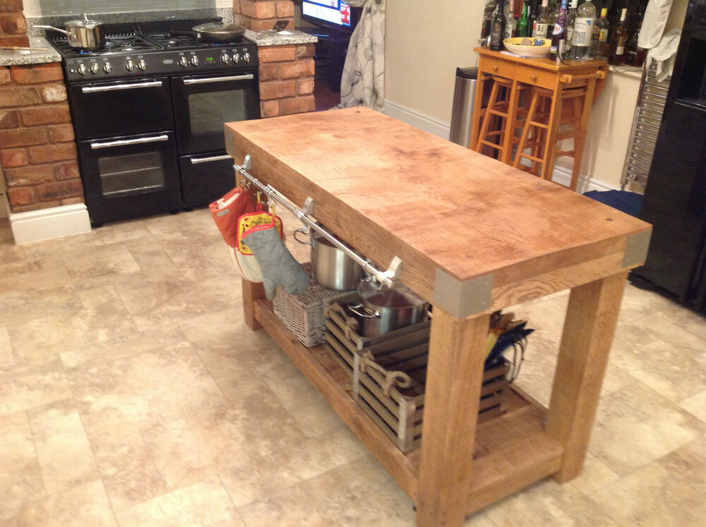 kitchen island butcher block table large english oak butchers block kitchen island table storage furniture vintage ebay 2978