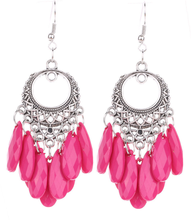 hot pink hollow dangle bohemia resin beads earrings