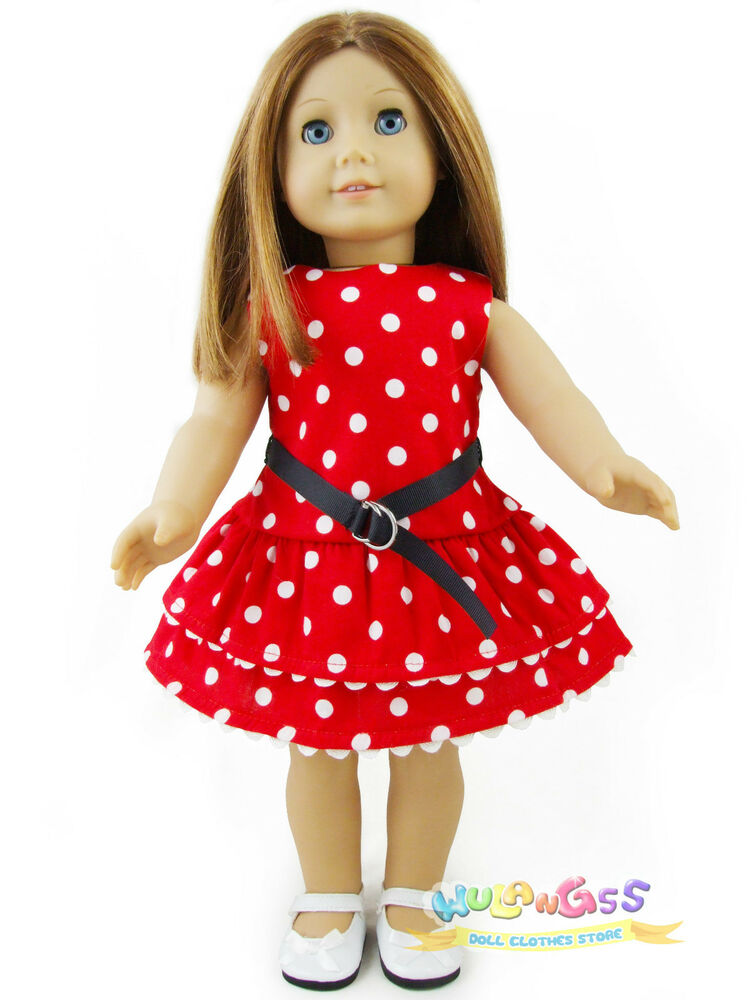 "Doll Clothes Fits 18"" American Girl Handmade Red Polka Dot"