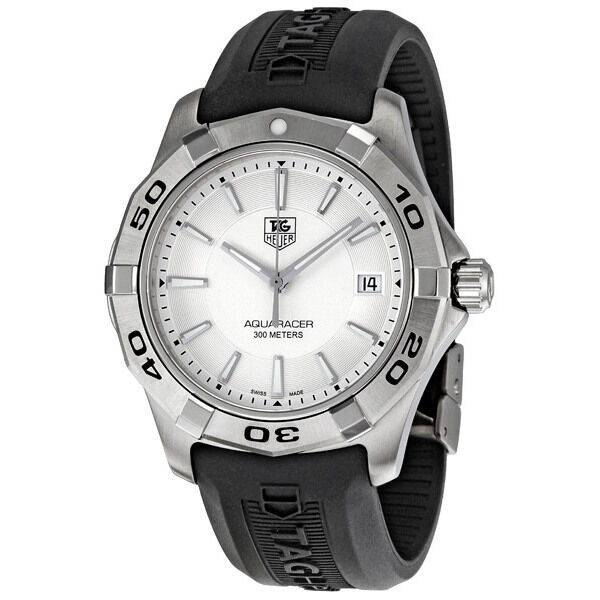 Tag Heuer Aquaracer Silver Dial Black Rubber Strap Mens ...