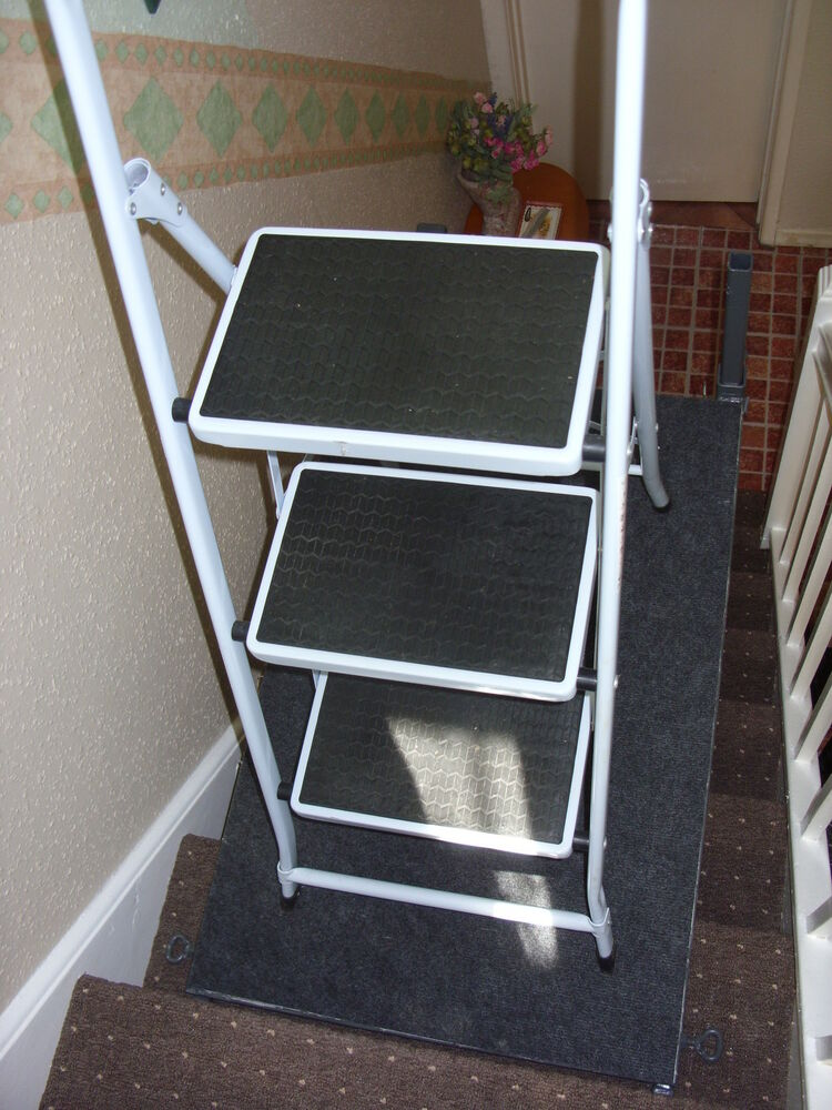 stair ladder stand leveller platform step stairwell scaffold trestle steel ebay. Black Bedroom Furniture Sets. Home Design Ideas