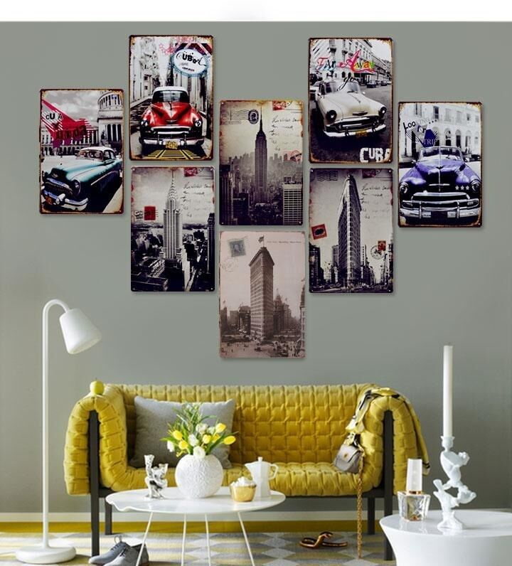 8pcs modern contemporary metal wall art work painting home for Home decor items on sale