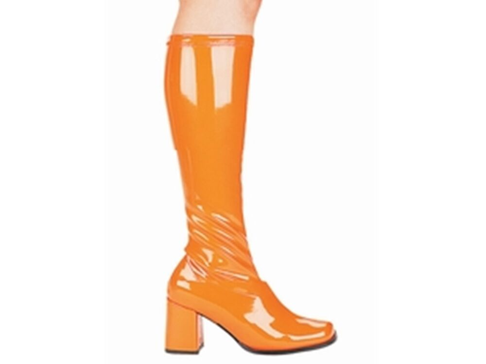 orange 1960s gogo retro boots womens knee high