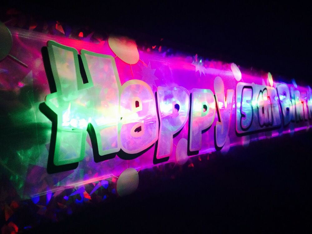 New flashing led happy birthday banner 1st 60th party - Led lights decoration ideas ...