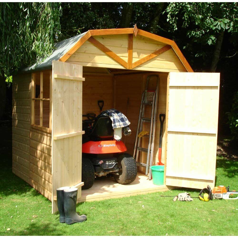 Garden wooden shed workshop 39 barn 39 7 39 x7 39 12x120mm t g for Garden shed 7x7