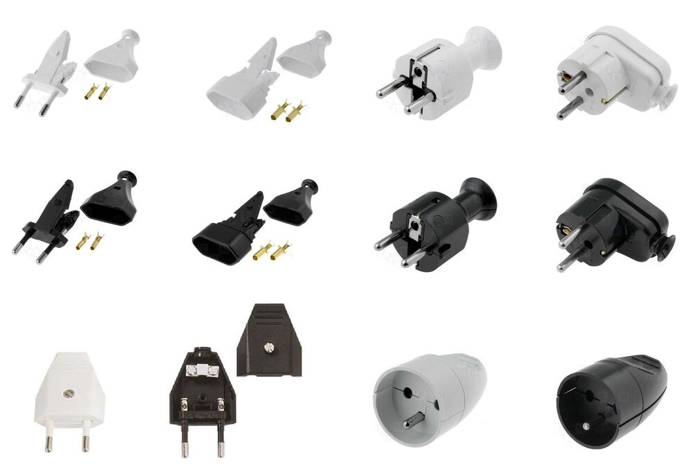 230v stecker eurostecker winkelstecker stromstecker schuko netzstecker euro plug ebay. Black Bedroom Furniture Sets. Home Design Ideas
