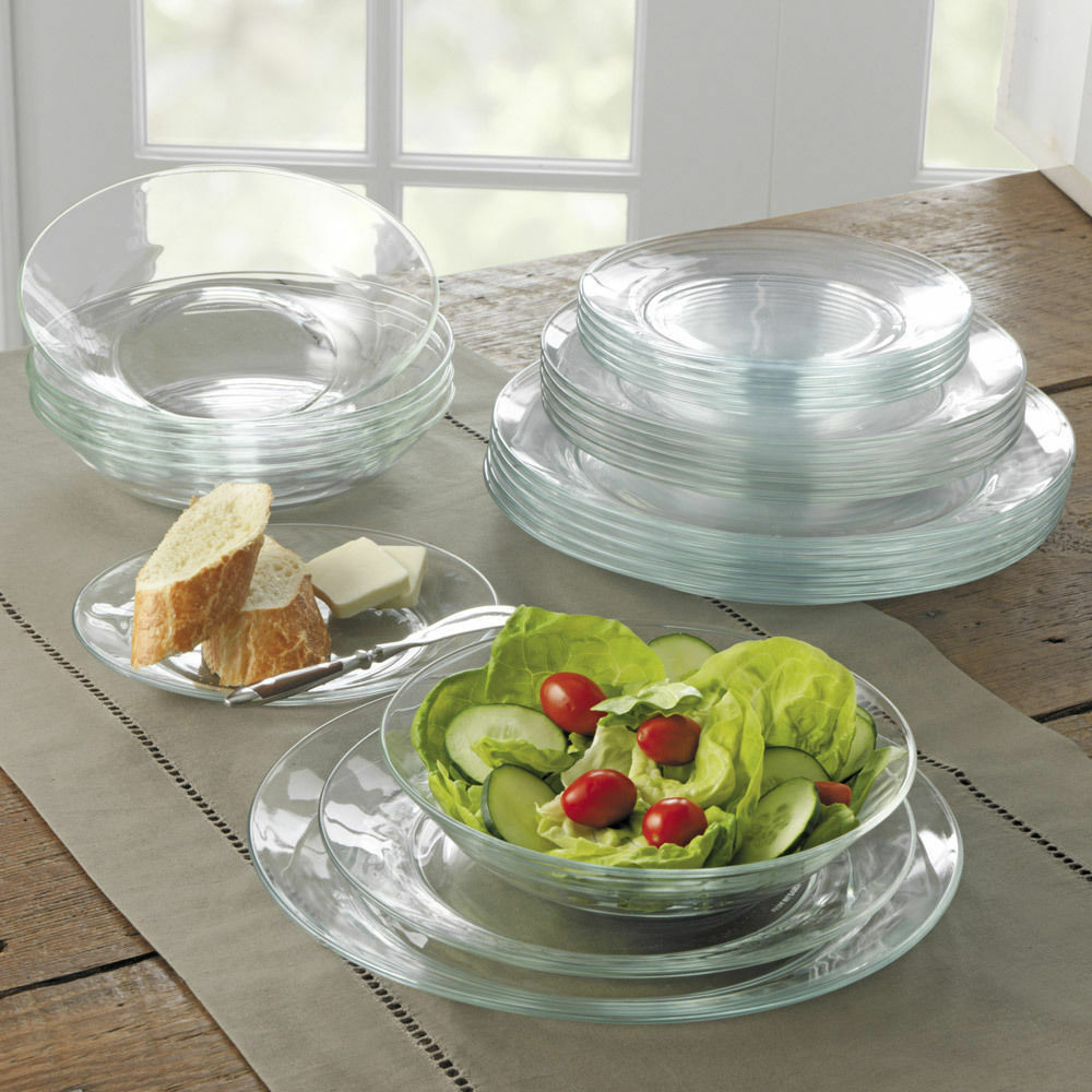 DURALEX LYS CLEAR GLASS DINNER WARE PLATES - SET OF 6 ...
