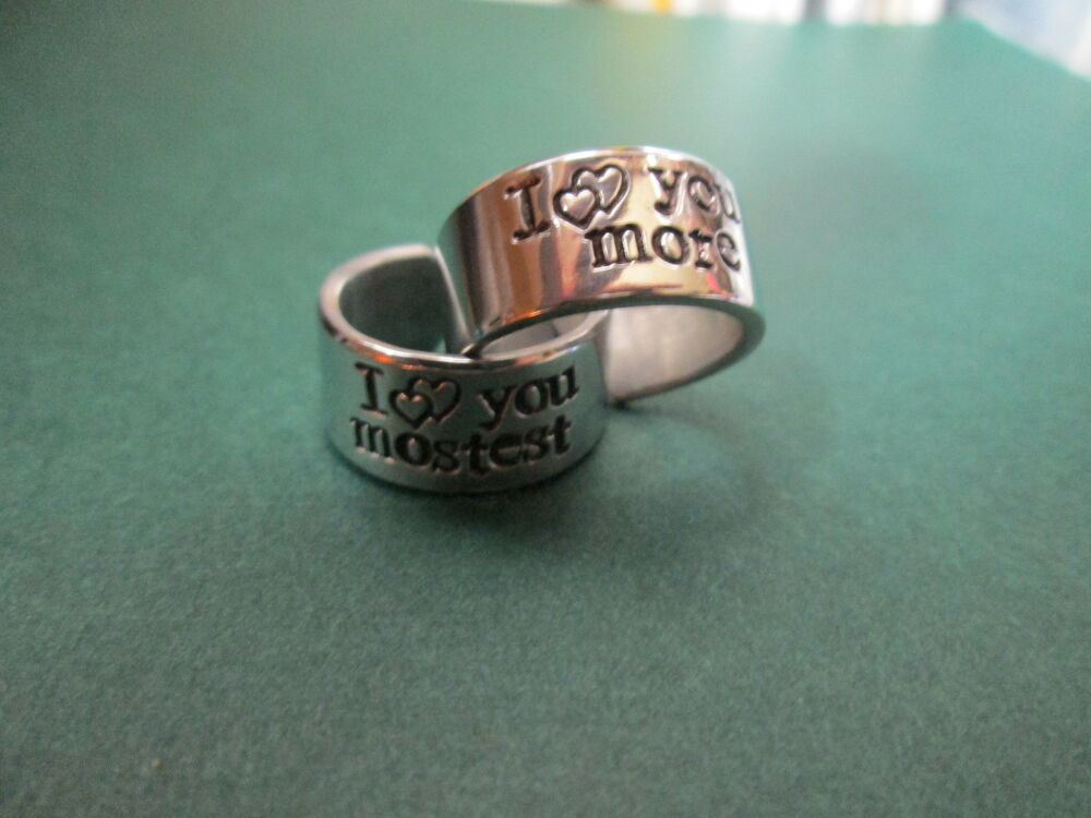 Hand stamped jewelry I love you more, I love you mostest ...