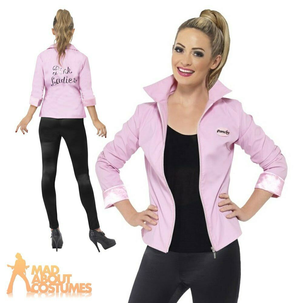 deluxe pink lady ladies jacket grease frenchy rizzo fancy dress costume uk 8 18 ebay. Black Bedroom Furniture Sets. Home Design Ideas