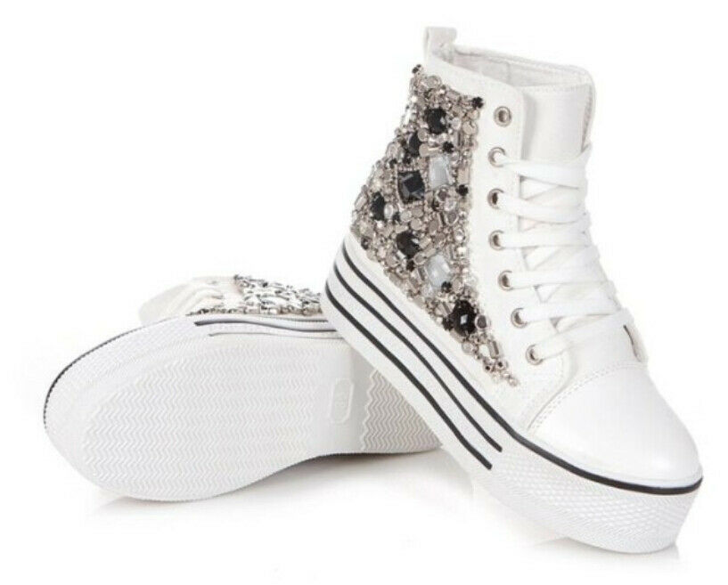 Womens High Top Lace Up Rhinestone Beaded Sneakers ...