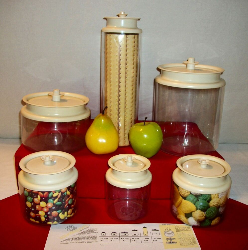 Tupperware ALMOND CounterParts Clear Acrylic Canisters