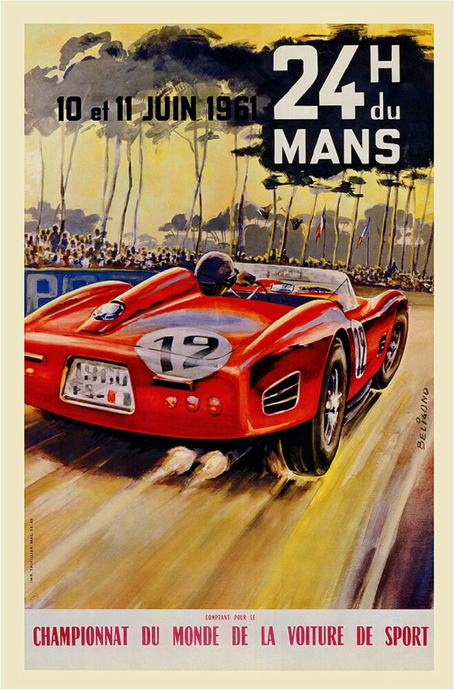 1961 24th du le mans french automobile race sport advertisement vintage poster ebay. Black Bedroom Furniture Sets. Home Design Ideas