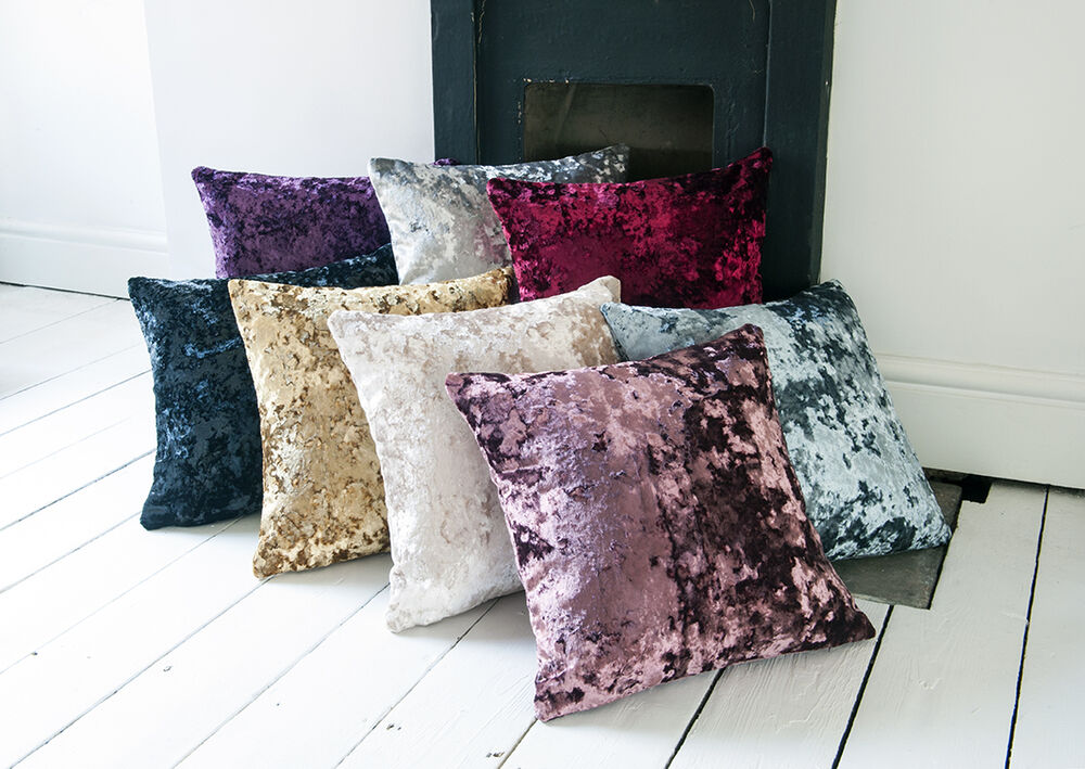 Feather bed cover - Moulin Luxury Crushed Velvet 17in X 17in Reversible Cushion Covers