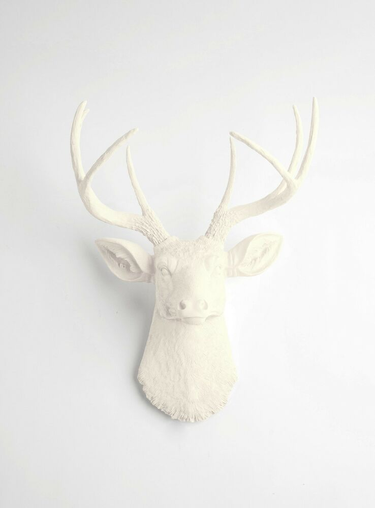 the tobrin antique white resin deer head stag resin ivory faux taxidermy ebay. Black Bedroom Furniture Sets. Home Design Ideas