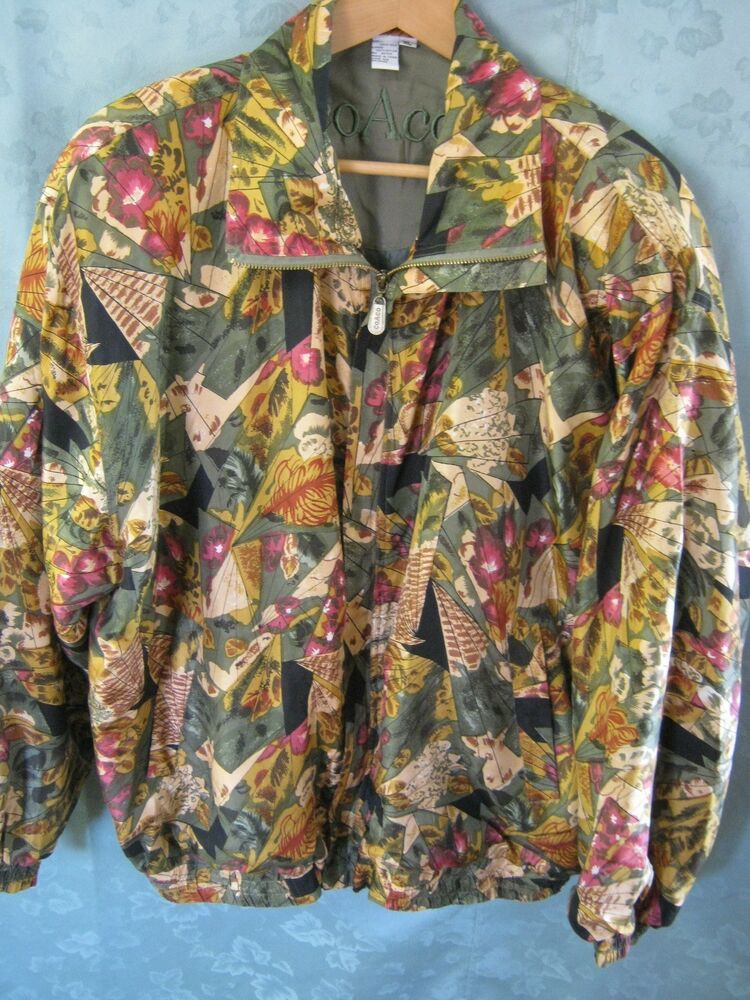 Vintage Women S Coaco Jacket Size Xl Silk Bomber Zip Front