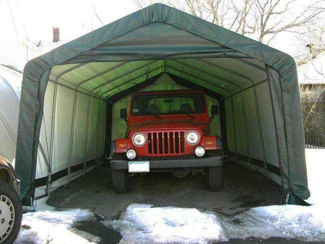 ShelterLogic 12x20x8 Peak Shelter Portable Garage Steel ...