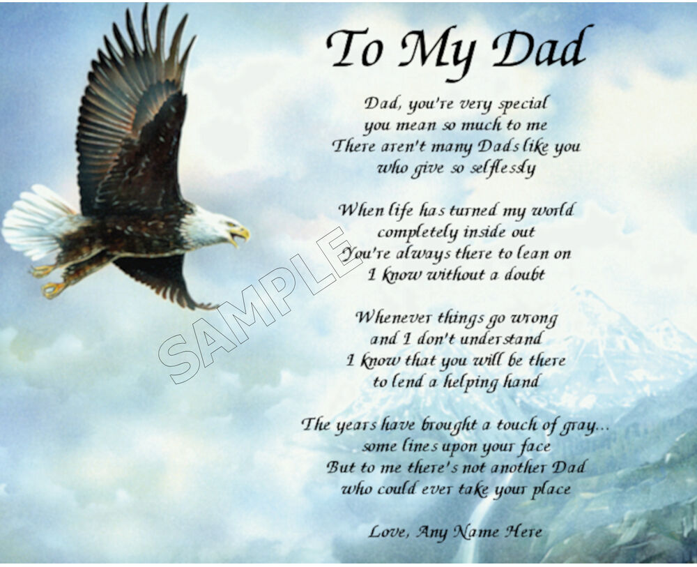 TO MY DAD PERSONALIZED ART POEM MEMORY BIRTHDAY FATHER'S ...