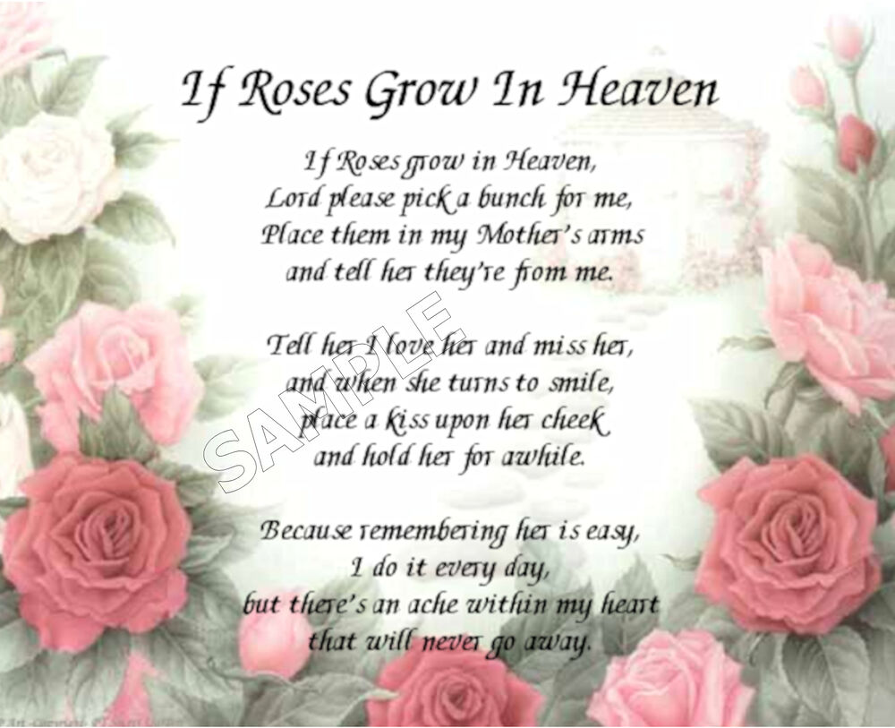 IF ROSES GROW IN HEAVEN MOTHER'S PERSONALIZED ART POEM
