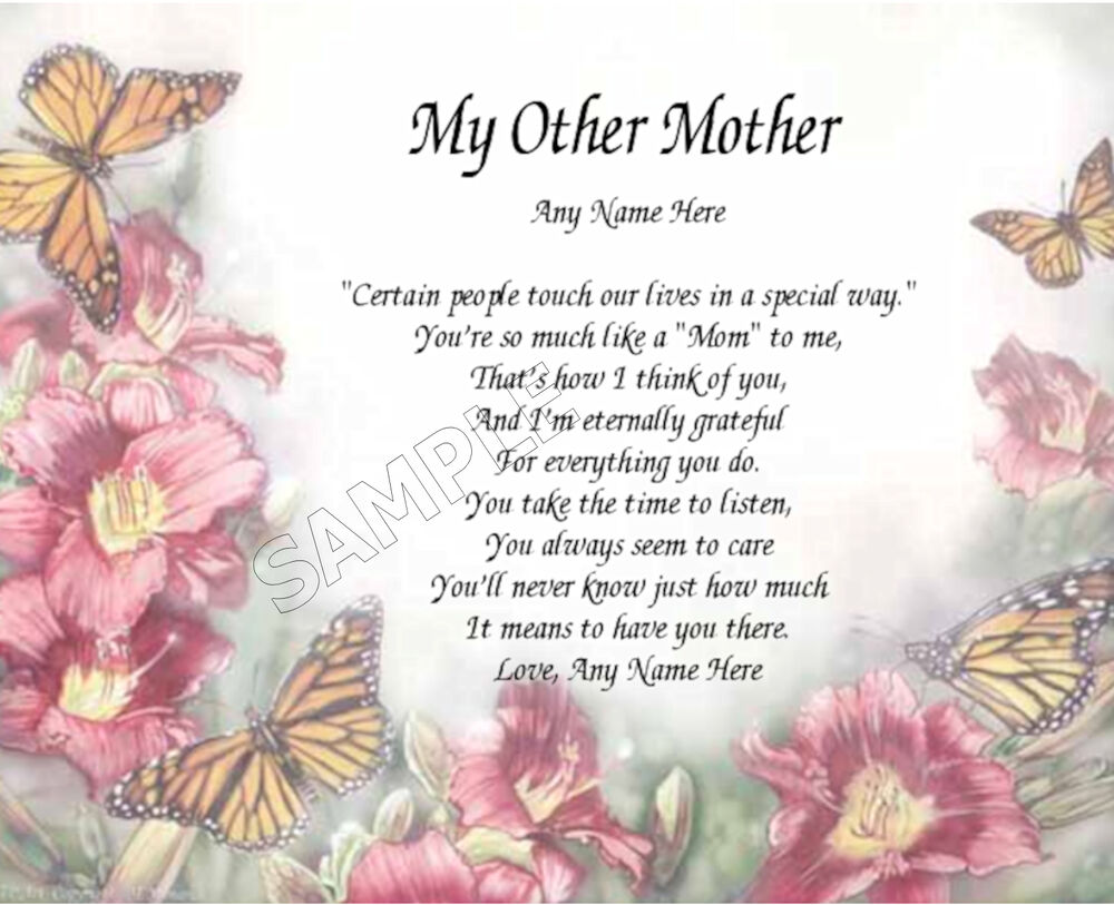 MY OTHER MOTHER PERSONALIZED ART POEM MEMORY BIRTHDAY