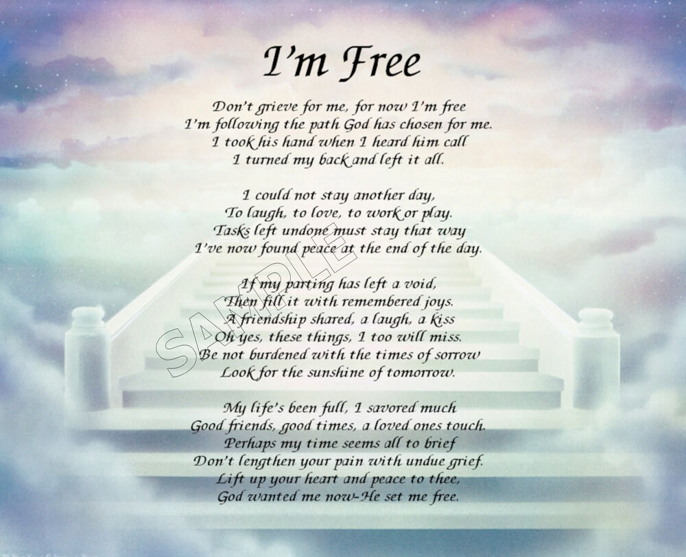 I M Free Prayer Personalized Art Poem Memory Gift Ebay