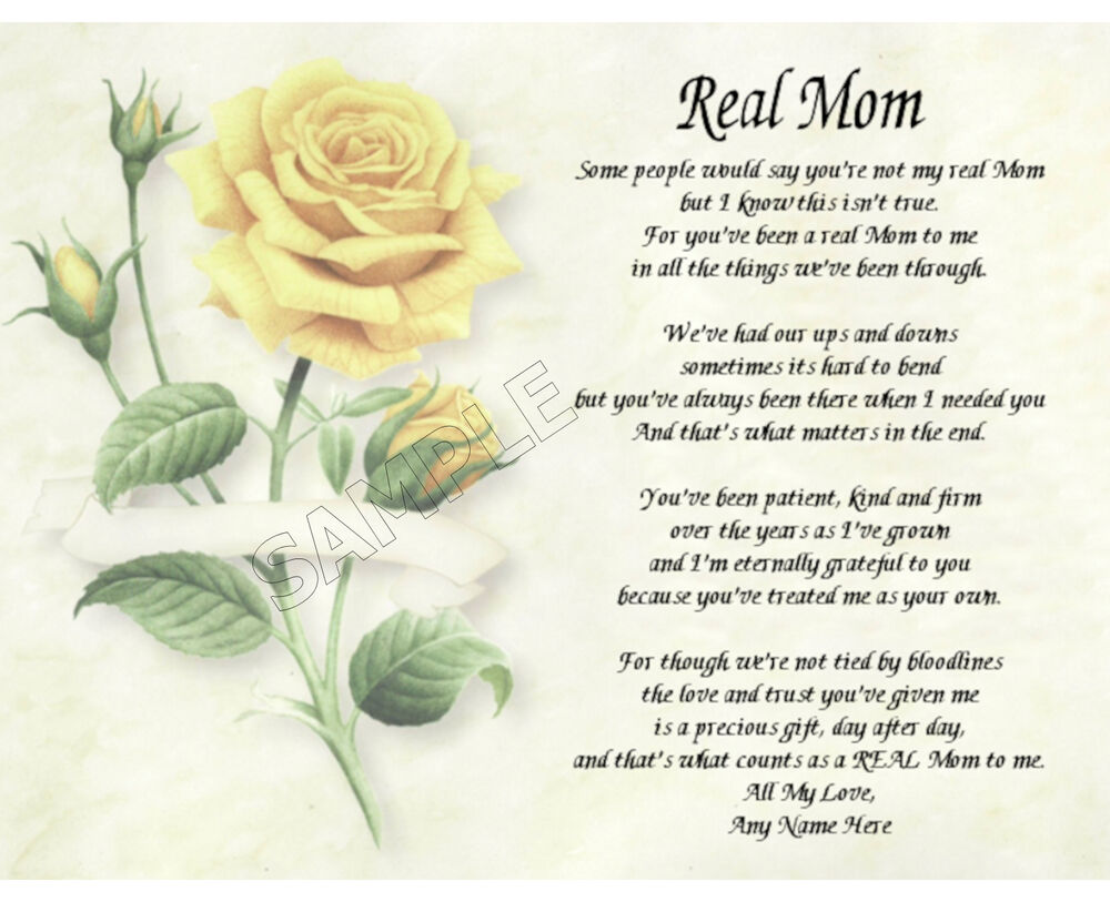 REAL MOM PERSONALIZED ART POEM MEMORY BIRTHDAY MOTHER'S ...