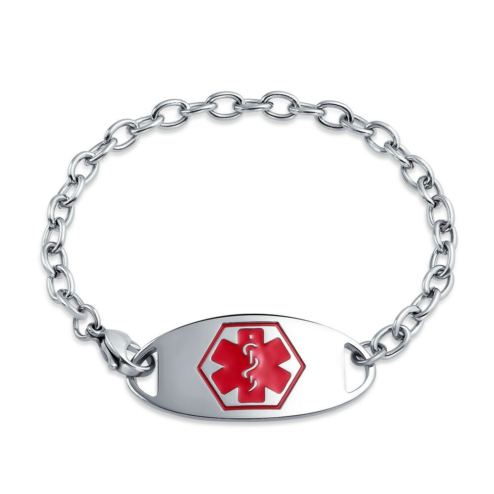Bling Jewelry Stainless Steel Medical Alert Oval Id Tag