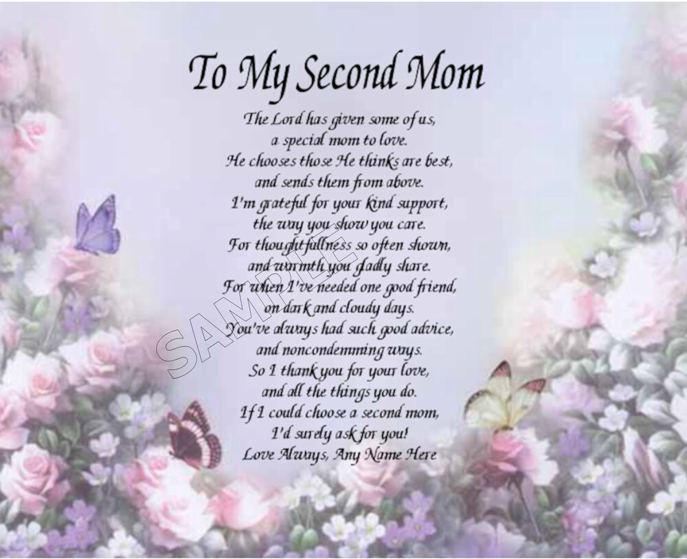 TO MY SECOND MOM PERSONALIZED ART POEM MEMORY BIRTHDAY