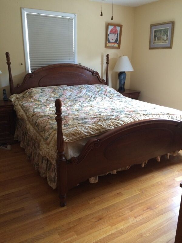 6 Piece Cherry Wood King Size Bed Full Bedroom Set Ebay
