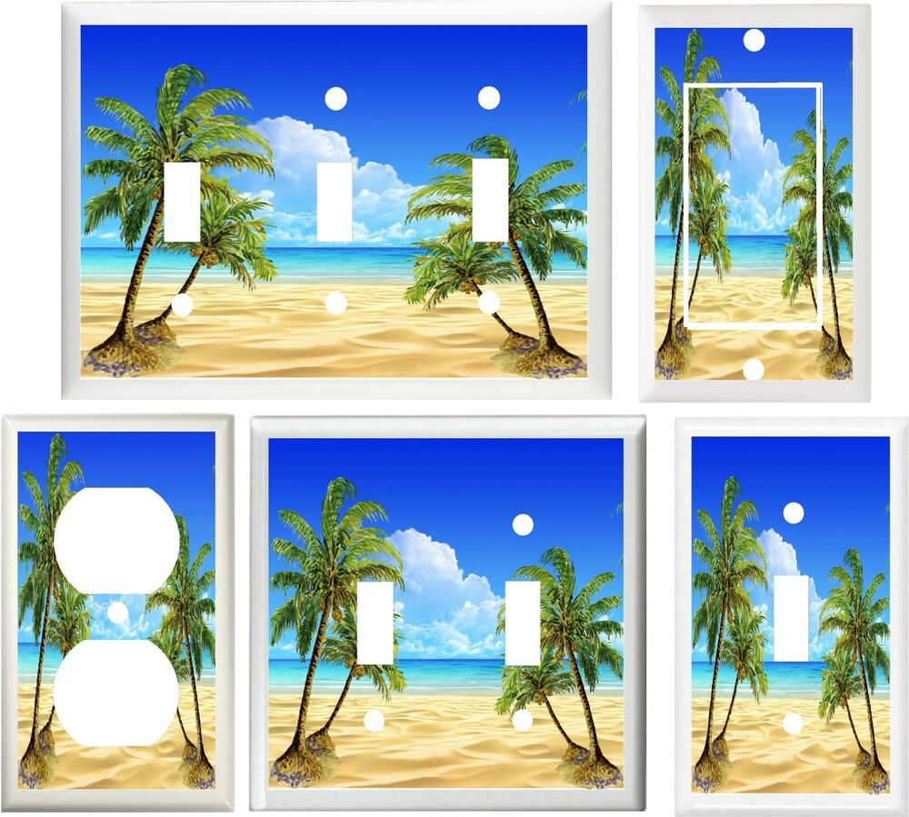 Palm trees beach shore home decor light switch or outlet for Shore home decor